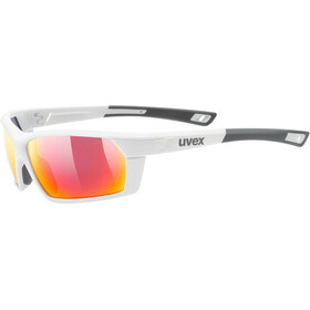UVEX Sportstyle 225 Glasses, white mat/mirror red